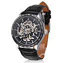 Men's Auto-Mechanical Hollow Black Dial PU Band Wrist Watch
