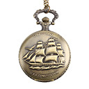 Unisex Sailing Boat Style U.S.S. Constitution Alloy Analog Quartz Pocket Watch (Bronze)