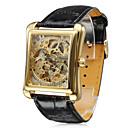 herenhorloge automatische mechanische vierkante gouden wijzerplaat holle graveren