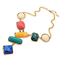 OL style multicolor geometry gem necklace