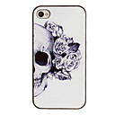 Skull med Rose Dekorert Ear Pattern PC Hard Case Black Frame for iPhone 4/4S