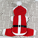 Christmas Style Costume Four-legged Pants with Hoodie for Pets Dogs (Red)