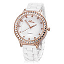 Women's Simple Rose Gold Diamante Round Dial Imitation Ceramic Band Quartz Analog Wrist Watch (Big)
