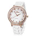 Simple Rose Gold Diamante manopola rotonda imitazione di ceramica della fascia del quarzo analogico Watch (Big) delle donne