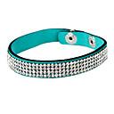 Four Row Crystal Leather Tennis Bracelet
