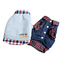 Fashion Casual Two-piece-like Check Cotton T-shirt for Pets Dogs (Assorted Colors, Sizes)