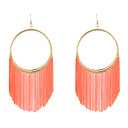 Circle Orange Chain Tassel Drop Earrings