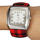 Women's Simple Square Dial Craquelure Grain Alloy PU Band Quartz Analog Bracelet Watch (Random Color)