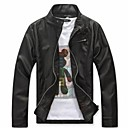Men's Fashion Long Sleeve PU Leather Jacket Coat