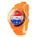 Men's Netherland Flag Pattern Orange Silicone Band Quartz Wrist Watch Football Cup Gift