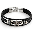 Mote star 22cm Unisex Black Leather Med Silver Alloy Leather Bracelet (1 stk)