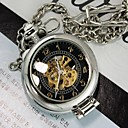 Mens Silver Svart Forstørrer Gjennom Mechanic Skeleton Pocket Watch