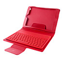 Drahtlose Bluetooth V3.0 77 - Key-Silikon-Tastatur w / PU-Ledertasche für iPad Mini - Red
