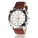 Men's Racing Dial Black Case Leather Band Quartz Wrist Watch (Assorted Colors)