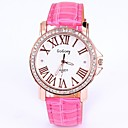Women'  Round Dial Leather Band Round Dial Quartz Wrist Watch