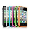 TPU Bumper Frame Case with Metal Buttons for iPhone 4/4S (Assorted Colors)