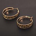 Fashion Circle Shape Leopard Print Golden Hoop Earrings(1 Pair)