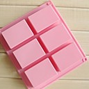 6 Cavities 3D Handmade Rectangle Soap Chocolate Cake Molds,Silicone 8×5.5×2.5 CM(3.1×2.2×1.0 INCH)