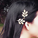 1 Pcs Greek Wind Retro Leaves Of Gold Side Clamping Hairpin