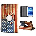 USA Flag 360 Rotatable Auto Sleep/Wake Leather Case for Samsung Galaxy Tab 3 Lite T110