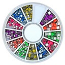 Buy 60Mix Colour Square Round Shape Neon Metal Studs Set Nail Art Decoration