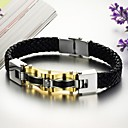 Personality Gold Titanium Steel Men's Leather Bracelet
