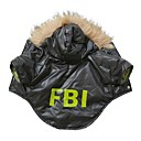 Cool FBI Pattern Cotton-Padded Hoodies T-Shirt for Pets Dogs (Black Assorted Sizes)