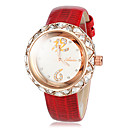 Women's Texture Diamond Case Leather Band Quartz Wrist Watch (Assorted Colors)