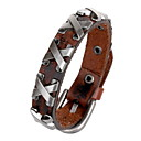 Classic Letter X 20cm Men's Black,Brown Leather Leather Bracelet(Black,Brown)(1 Pc)