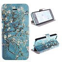 Old Branches with Flower Pattern PU Full Body Case with Card Slot and Stand for iPhone 5C