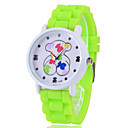Women's Colorful Bear-Shaped Pattern Bezel Candy Jelly Band Quartz Wristwatch (Assorted Colors)