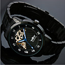Menns Skeleton Black Steel Band Automatic Mechanical armbåndsur