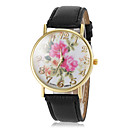 Women's Beautiful Flower Pattern Dial PU Band Quartz Wrist Watch(Assorted Colors)