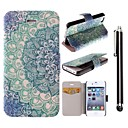 Blue Lotus Pattern PU Leather Full Body Case with Stand and A Stylus Touch Pen for iPhone 4/4S