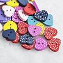 Dot Heart Shaped Scrapbook Scraft Sewing DIY Wooden Buttons(10 PCS Random Color)