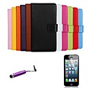 Solid Color Pattern Genuine Leather Full Body Cover with Card Stylus and Protective Slot for iPhone 6