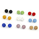 Colorful Shamballa Crystal Stud Earrings For Women