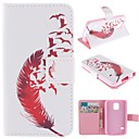 Beautiful Red Feather Design PU Full Body Case with Stand with Card Slot for Samsung Galaxy S5 Mini