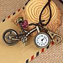 couro de discagem unisex do vintage em forma de bicicleta rodada&liga de quartzo colar / relógio chaveiro patina verde (1pc)