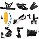 TOZ 9 in 1 Kit Chest Head Strap Floating Grip Handlebar Seatpost Monopod Suction Cup Wrist Strap for GoPro Hero 4