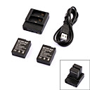 Smart 2-Slot Battery Charger + 2 301 300mAh Batteries Travelling Set for GoPro Hero 3/3+