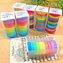 30PCS Popular Rainbow Washi Sticky Paper Masking Adhesive Decorative Tape Scrapbooking DIY for Decorative 10 colors
