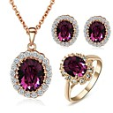 Buy Emerald Elegant 18K Rose Gold Pated PurpleGreen Austrian Crystal Pendant Necklace Earrings Ring Jewelry Set