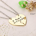 2015 New Style Broken Heart 2 Parts Pendant Necklace Best Bitches Necklace(2 pcs 1 set)