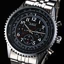 Men's Auto-Mechanical 6 Pointers Silver Steel Band Wrist Watch