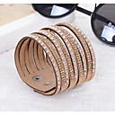 Hot Drill Bangle Handmade Rivet Velvet Bracelet Bling Rhinestone Wrap Leather Bracelet