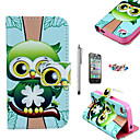 Buy KARZEA™ Green Owl Pattern PU Leather Case Screen Protector Stylus Dust Plug iPhone 4/4S