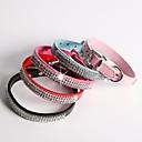 Buy Cat / Dog Collar Adjustable/Retractable Rhinestone Red Black Blue Pink Rose PU Leather
