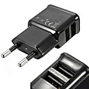 Universal Compact Dual USB Output EU Plug Power Adapter For Iphone And Samsung