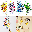 50 Pcs 3D Butterfly Magnet Stickers Wall Art Decals with Bubble Stick(12 Pcs Ordinary+38 Pcs Nonmagnetic)